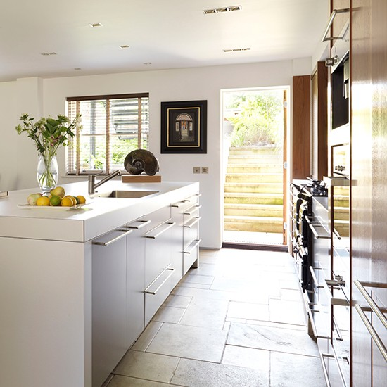 Soft Grey Kitchen With Limestone Tiles Hard Working
