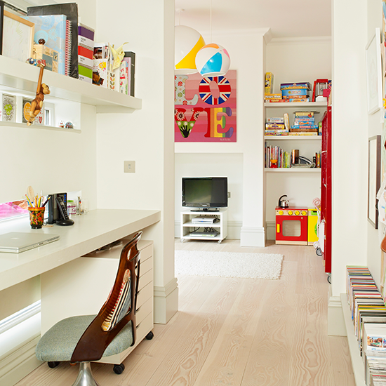 Playroom Home Office With Floating Desk And Shelf Home
