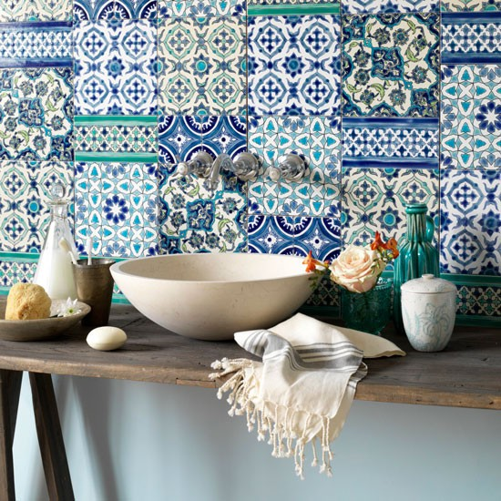 Bathroom Mediterranean Style: Bathroom With Mediterranean-style Tiled Wall