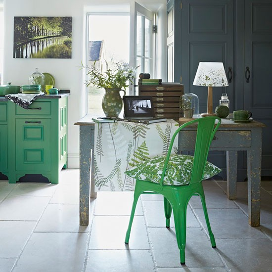 Rustic Home Office With Green Painted Furniture