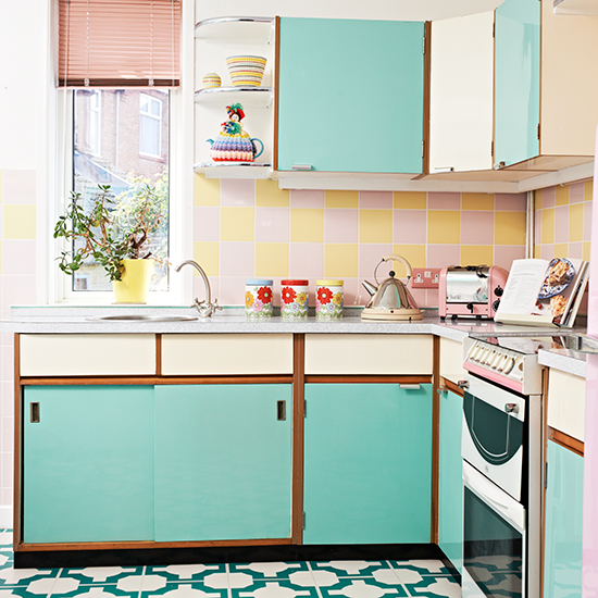 Retro kitchen with vinyl floor and turquoise cabinetry ...
