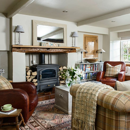 Traditional living room wood burning stove heritage room - Living room with wood burning stove ...
