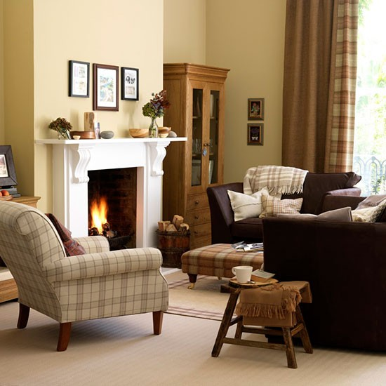 Traditional Living Room: Yellow Traditional Living Room With Tartan Upholstery