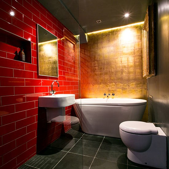 Bathroom With Gold-leaf Feature Wall And Red Tiles