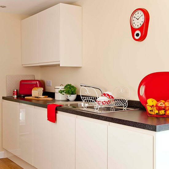 astonishing white kitchen red accents | Small white kitchen with funky red accents | housetohome.co.uk