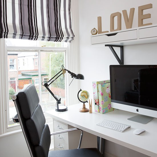 Monochrome Home Office With Blind