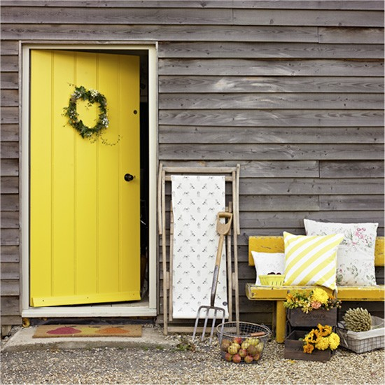 What First Impression Does Your Front Door And Walkway: Daffodil Yellow Front Door