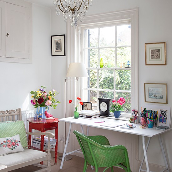 White Home Office With Green Chair
