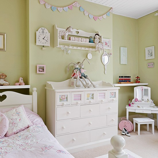 Yellow And Green Kids Room Ideas: Pretty Green And Pink Children's Room