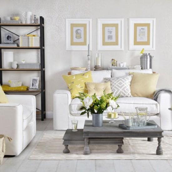 pale grey and lemon yellow living room  grey and yellow