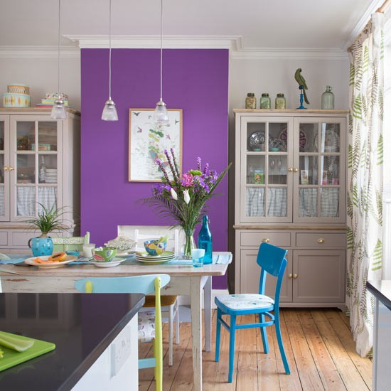 Dining room with purple feature wall and reclaimed - Purple feature wall living room ideas ...