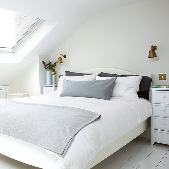 Small Bedroom Decorating Ideas Uk Small Bedroom Ceiling Fan Bedroom Lighting Low Ceiling Bedroom Door At Night: Modern White Attic Bedroom With Cool Accents