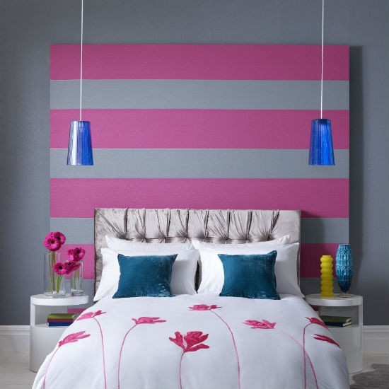 Pink and grey striped wallpaper bedroom wallpaper ideas - Pink and white striped wallpaper bedroom ...