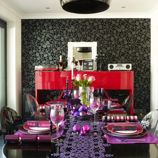 Red And Purple Christmas Dining Room With Bauble Table