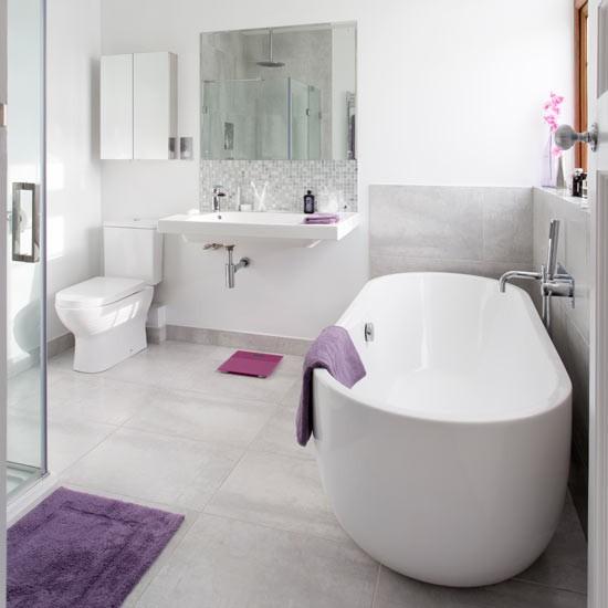 Grey Country Bathroom With Rolltop Bath: Contemporary Bathroom With Roll-top Bath