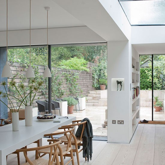 29 Contemporary Open Plan Dining Room Ideas: White Open-plan Kitchen Extension