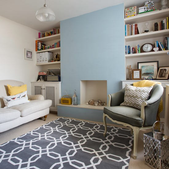 Traditional living room with blue walls and alcove - Feature wall living room ...