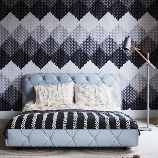 Bedroom Wallpaper Patterns: Grey Bedroom With Modern Knitting-design Wallpaper
