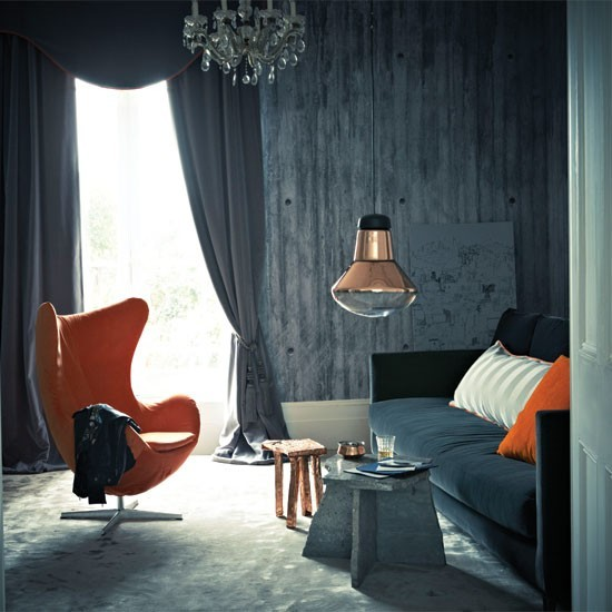 Grey living room with dramatic orange and copper details - Orange and grey living room ideas ...