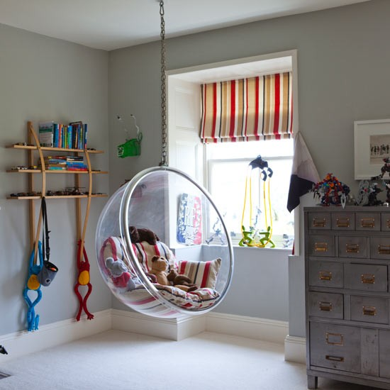 Kids Room Interior Designing Services In Begumpet: Playroom With Hanging Perspex Chair