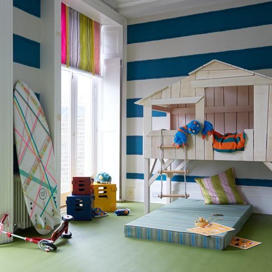 Den Playroom Ideas: Playroom With Den And Fun Striped Walls