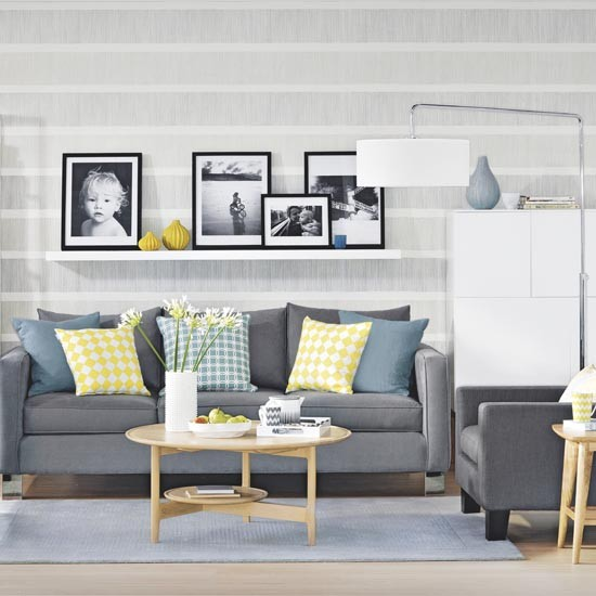 grey and yellow family living room  grey and yellow