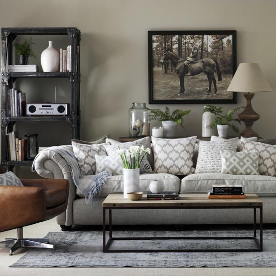 Living Room Ideas Grey: Grey Living Room With Chesterfield Sofa And Industrial