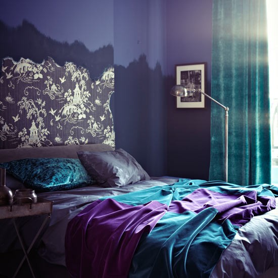 Purple Bedroom Ideas: Purple Bedroom With Turquoise And Wallpapered Headboard
