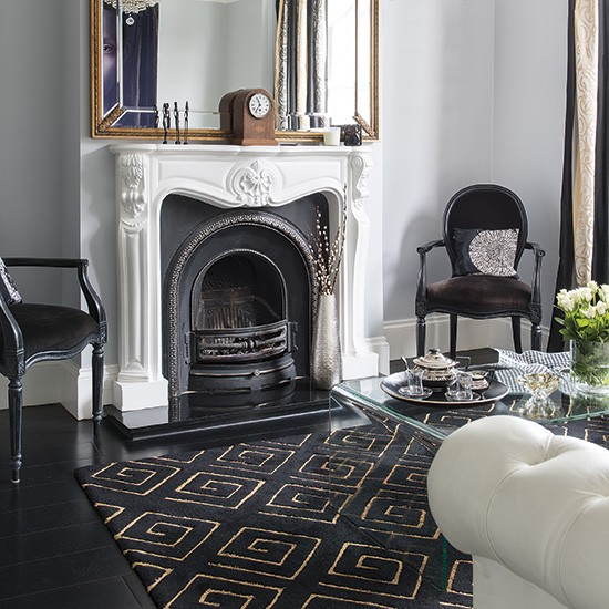 Black And White Living Room With Touches Of Gold