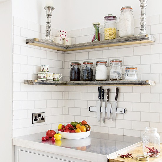 Industrial Kitchen Shelving: White Kitchen With Industrial Open Shelves