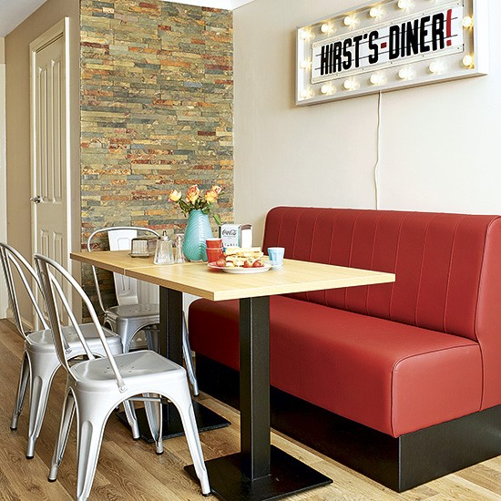 Retro Kitchen With Banquette Seating And Light Fixture