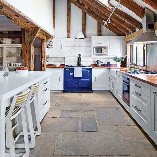 Blue Kitchen Flooring Ideas: Rustic Kitchen With Blue Aga And Impressive Flagstone