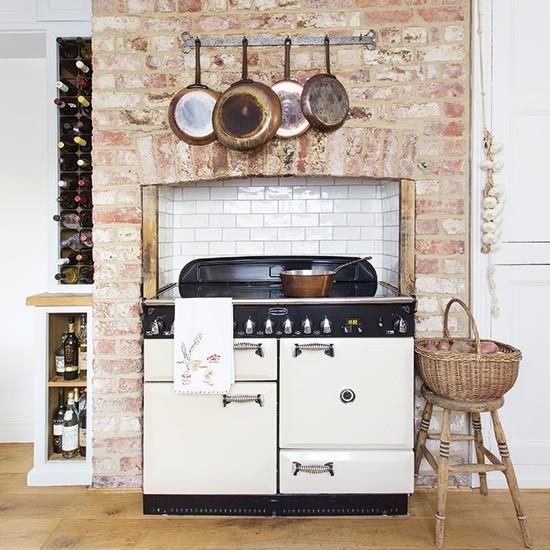 Kitchen Chimney Interior Design: Rustic Kitchen With White Aga In Exposed-brick Chimney