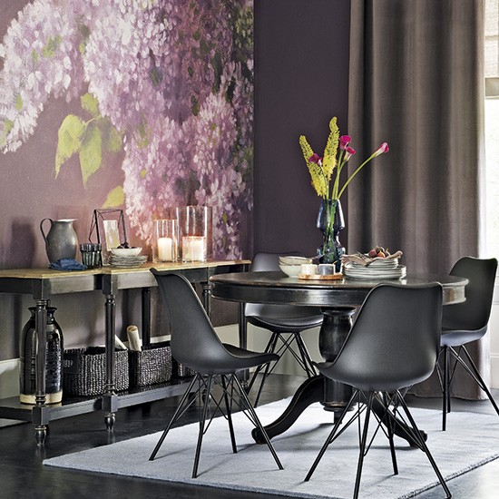 Romantic Dining Room With Floral Wall Mural