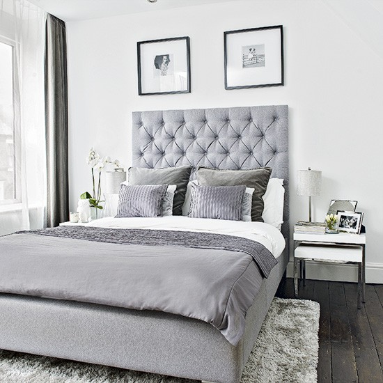 Bedroom With Gray Bed Bedroom Lighting Tips And Ideas Bedroom Color Blue Ideas Bedroom Decor Rustic: Modern Bedroom With Grey Upholstered Bed And Soft