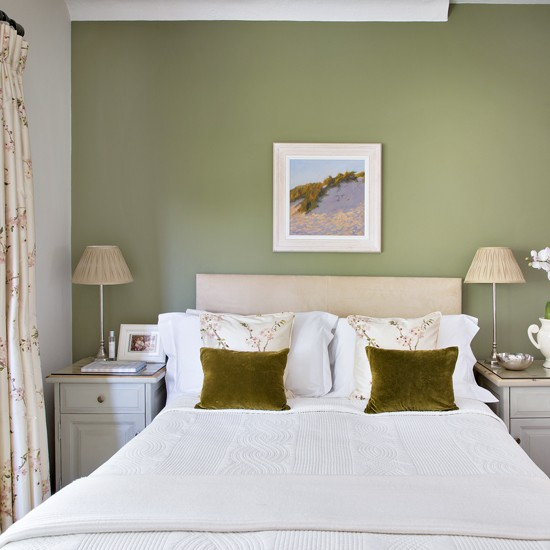 Pretty Bedroom With Olive-green Feature Wall