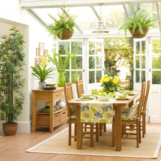 Dining Area Lighting: Small Conservatory With Dining Area