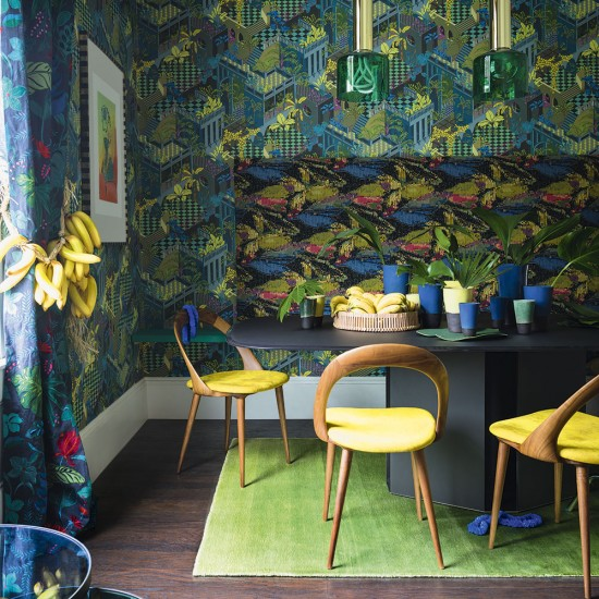 fabulous jungle house bedroom pictures | Jungle dining room with fabulous prints and banana yellows ...