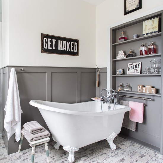 Grey And White Panelled Bathroom: Grey And White Bathroom With Slipper Bath And Panelled