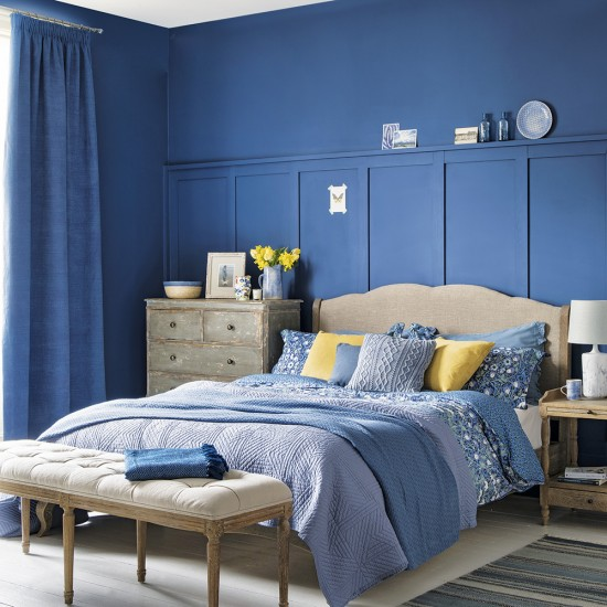 Bedroom Wallpaper Stickers Yellow Accent Wall Bedroom Bedroom Lighting Ideas Bedroom Ceiling Options: Bedroom With Indigo Blue Walls And Cream And Yellow