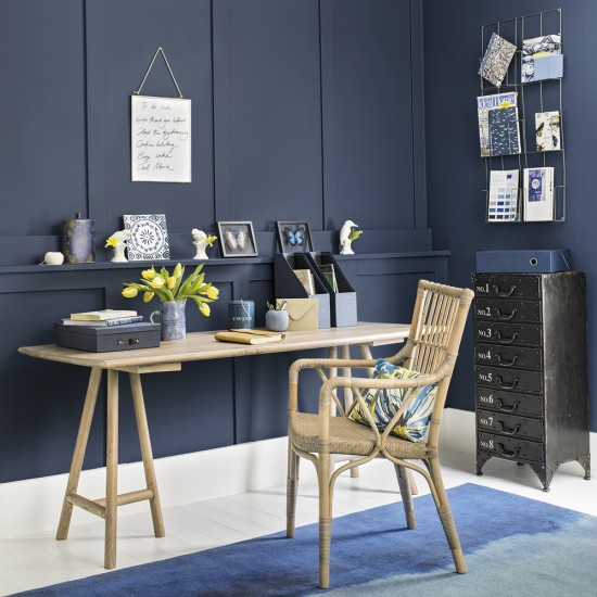 Home Office White Blue: Moody-blue Home Office With White Flooring
