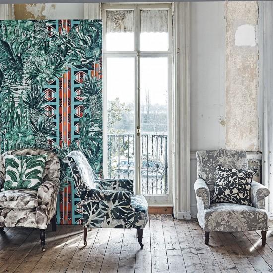 Colorful Mismatched Room: Mismatched Botanical-print Living Room