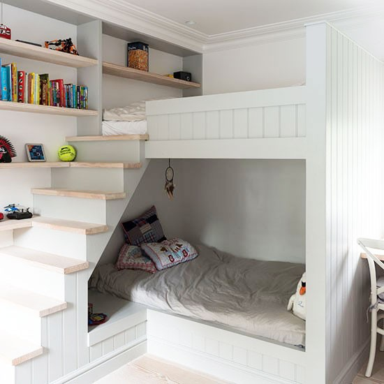 Small Bedroom Bunk Bed Ideas: Small Children's Room With Bunk-bed Cabin And Stairs
