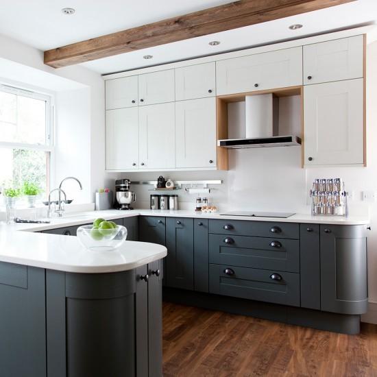 U Shaped Kitchen With Curved Peninsula Unit