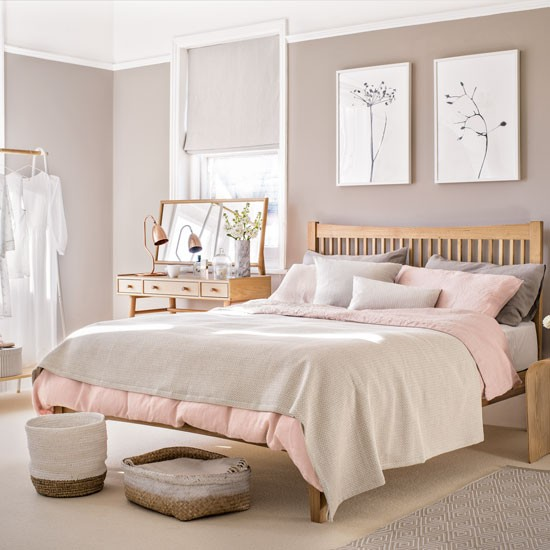 Bedroom Colour Grey Bedroom Wall Almirah Designs Green Bedroom Accessories Vintage Bedroom Accessories: Bedroom With Pale Pink Paint Palette And Wooden Furniture