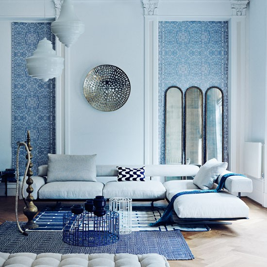 Beautiful Living Room With Persian Wallpaper And Modern