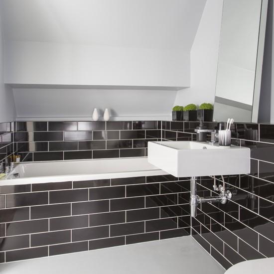 Images Of Black And White Bathrooms: Black Metro Tile Bathroom