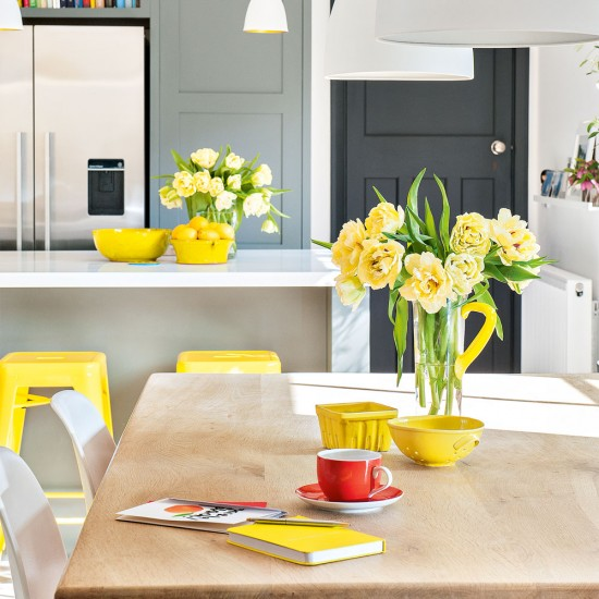 excellent white kitchen yellow accents | Smart tones-of-grey kitchen with bright yellow accents ...