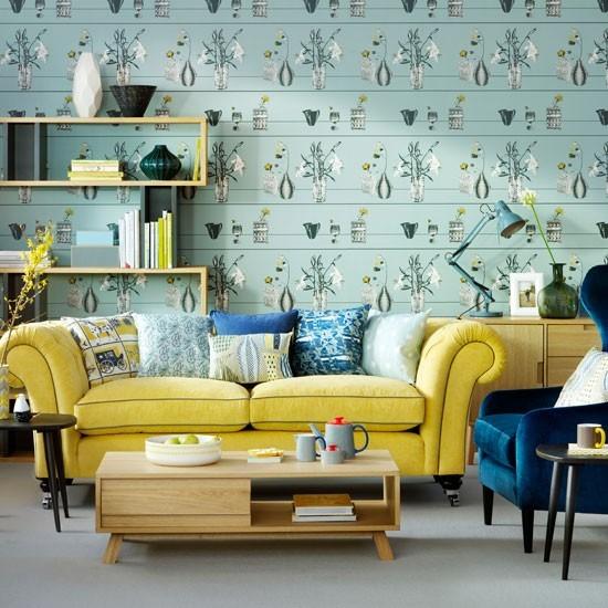 Duck Egg Living Room: Duck Egg Living Room With Feature Wallpaper
