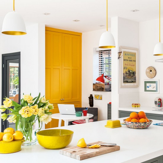 excellent white kitchen yellow accents | Modern kitchen-diner with yellow accents and white walls ...